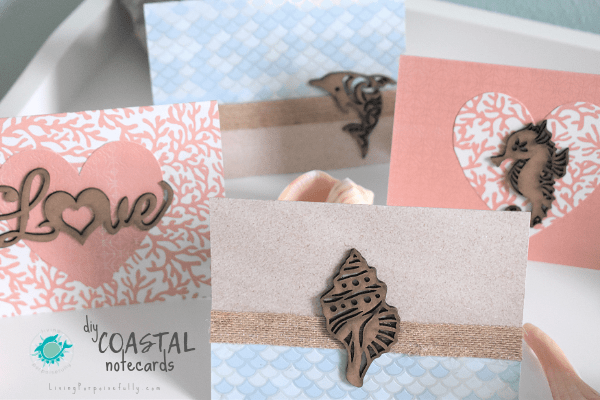 DIY Coastal Notecards Living Porpoisefully - sea animal designs
