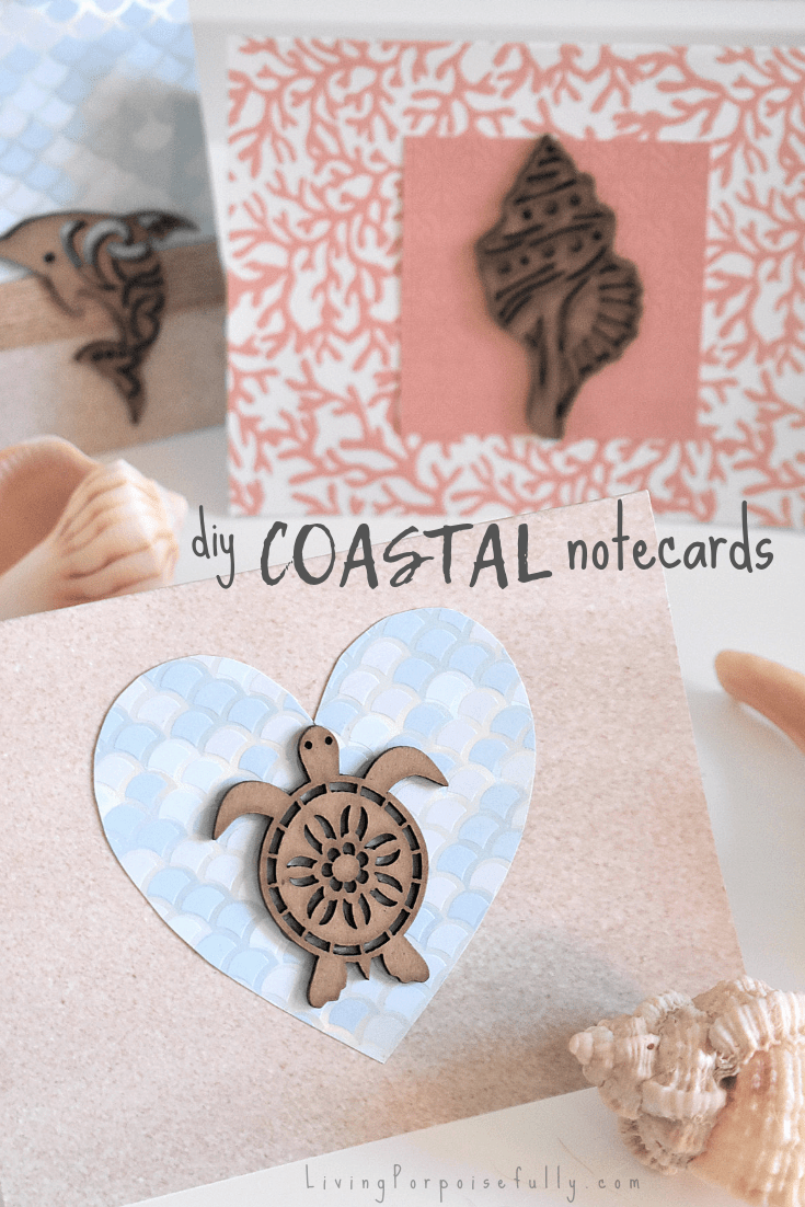DIY Coastal Notecards - thank you cards stationery valentines by Living Porpoisefully