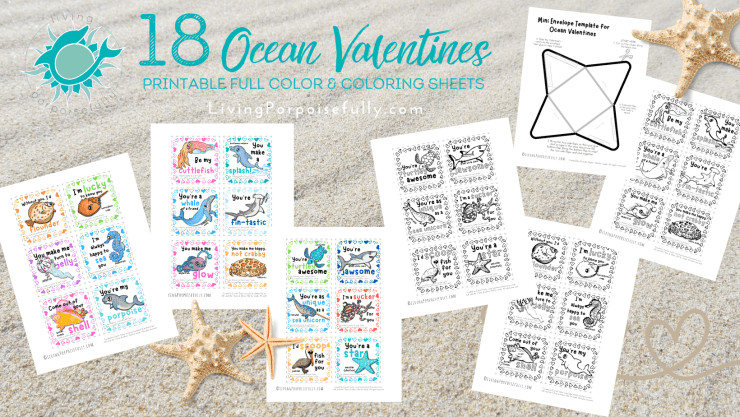 18-Ocean-Valentines-full-color-coloring-sheets-envelope-template-from-Everett-Taylor-Living-Porpoisefully