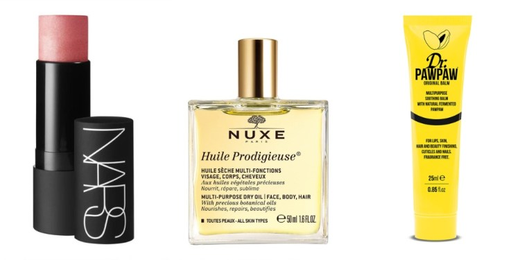 Recommended: Multi-use beauty products. Images of NARS The Multiple makeup stick in Orgasm shade, NUXE Huile Prodigieuse bottle and Dr PawPaw Multipurpose soothing balm all in a row against a white background