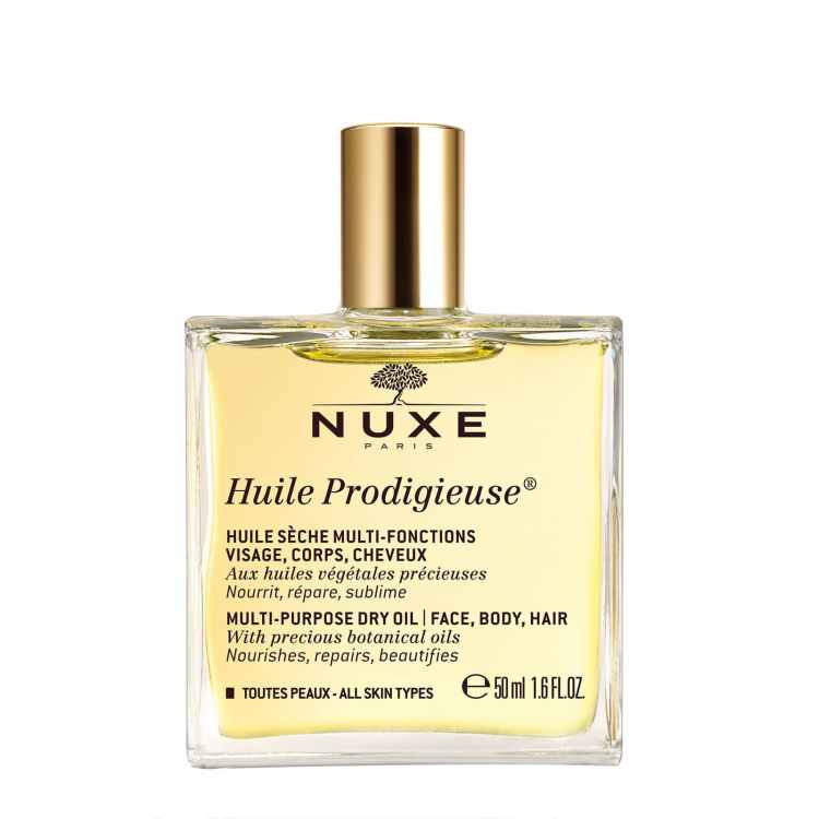 Recommended: Multi-Use beauty products. Image of Nuxe Huile Prodigieuse bottle