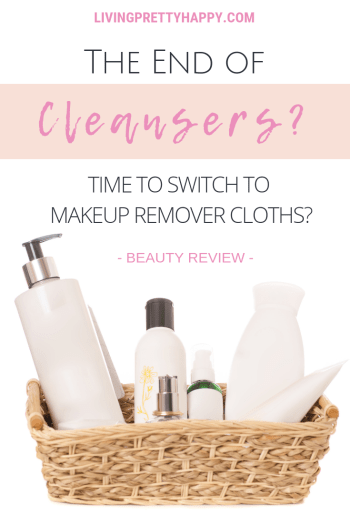 Afterspa makeup remover cloth: the end of cleansers? Pinterest graphic displaying post title on a background image of a wicker basket full of beauty cleansing products. beauty review. livingprettyhappy.com