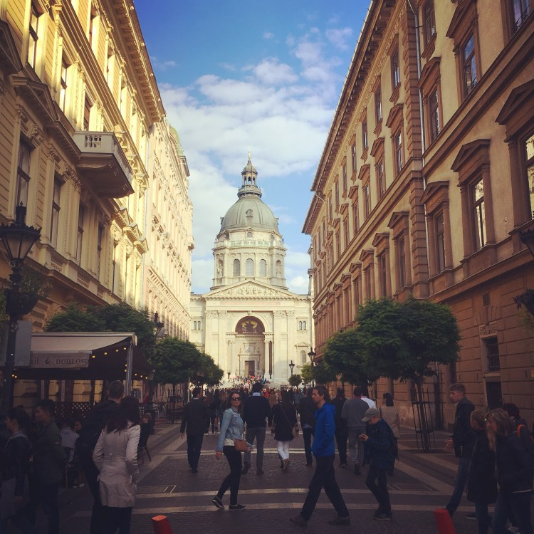 48 Hours in Budapest. Image of a street in Budapest leading up to St Stephen's Basilica