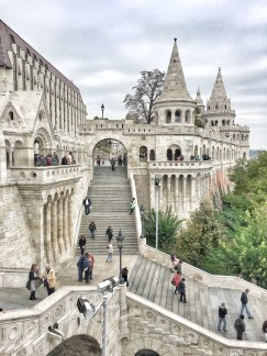 5 Things to do in Buda, Budapest. Image of exterior and stairs of Fisherman's Bastion