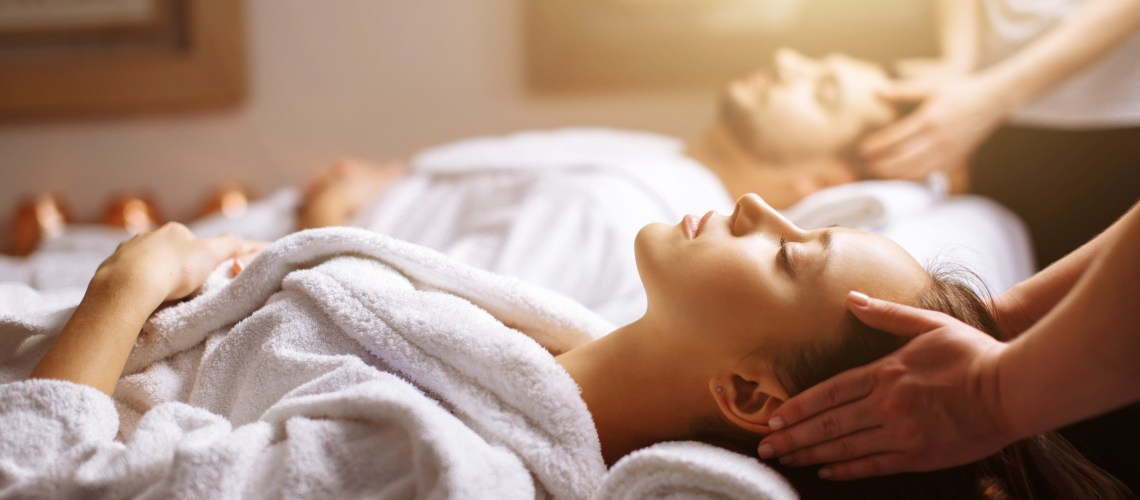 The rise of the leisure centre day spa (Verulamium Spa, St Albans) Image of man and woman having scalp messages on treatment beds