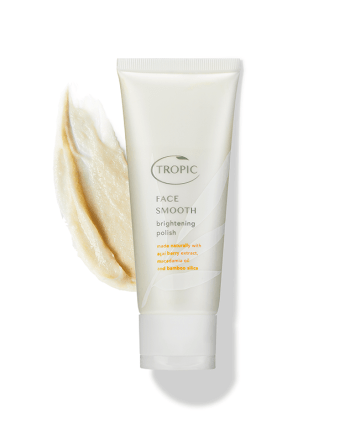 Recommended exfoliators for face, body & scalp. Image of Tropic Face Smooth Brightening Polish