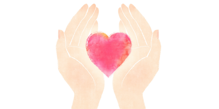 Give the gift of well-being this Mother's Day: Perfect well-being gifts for Mum. Illustration of a pair of hands holding a heart on a white background