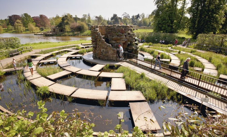 The water maze on a sunny day at Hever Castle Kent England