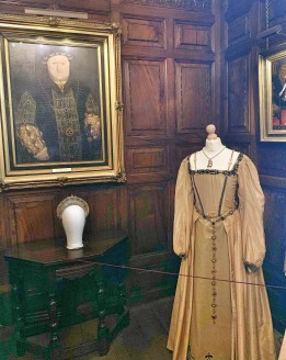 A portrait of Henry VIII & the Anne Boleyn costume from Anne of the Thousand Days movie