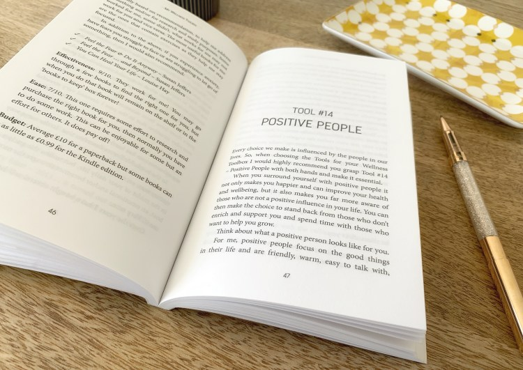 Open spread of pages 46 and 47 within the My Wellness Toolbox book by Alison Swift. The page displays Tool 14 - positive people