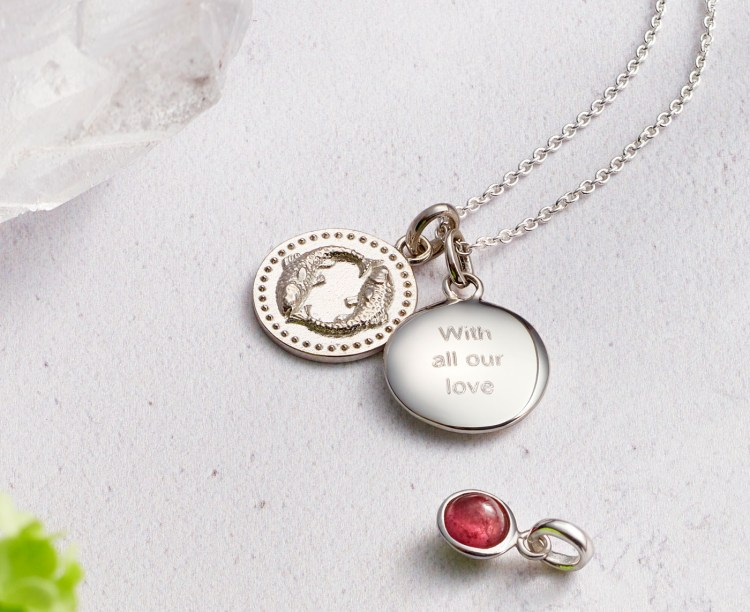 Hersey & Son Pisces silver pendant engraved with all our love - a simple way to create jewellery with meaning from Hersey & Son