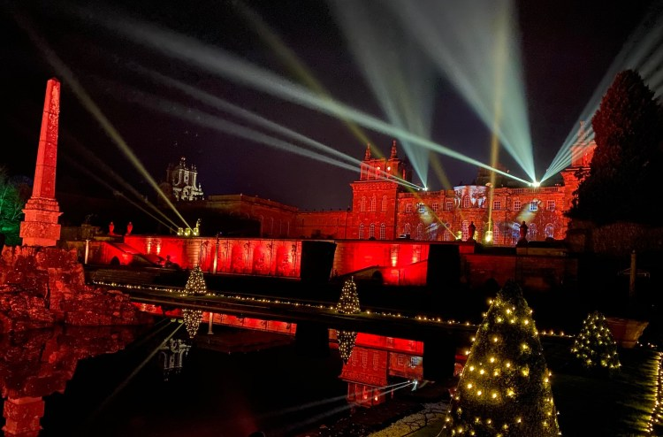 Christmas at Blenheim Palace - the Palace all lit up
