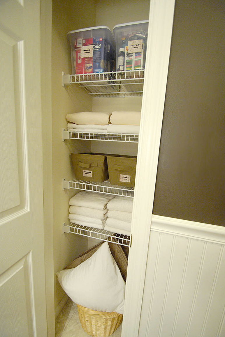 How to fold fitted sheets plus bathroom linen closet