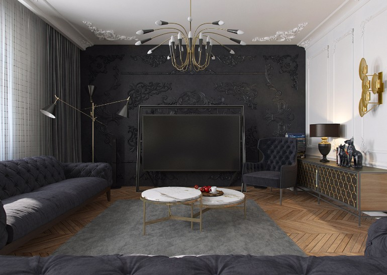 modern black living room red and gold apartment in kiev with design