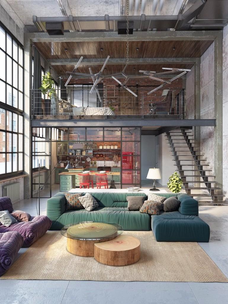 living room design idea tile floors in 10 loft style ideas