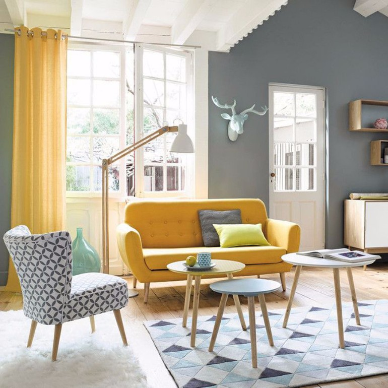 retro living room orange and grey curtains some ideas about
