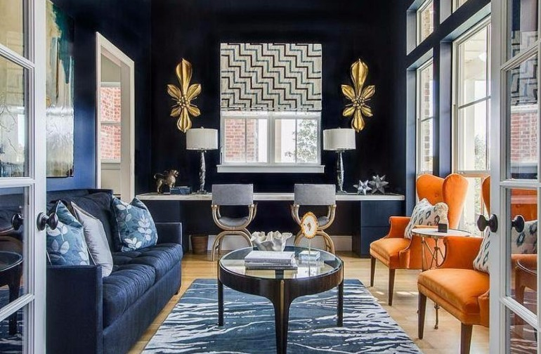 blue walls living room wall decals for india modern with navy ideas