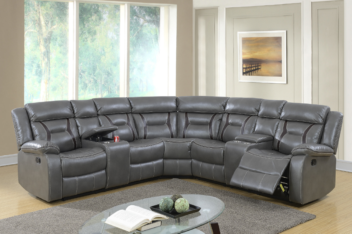 labrea leather gel recliner sectional