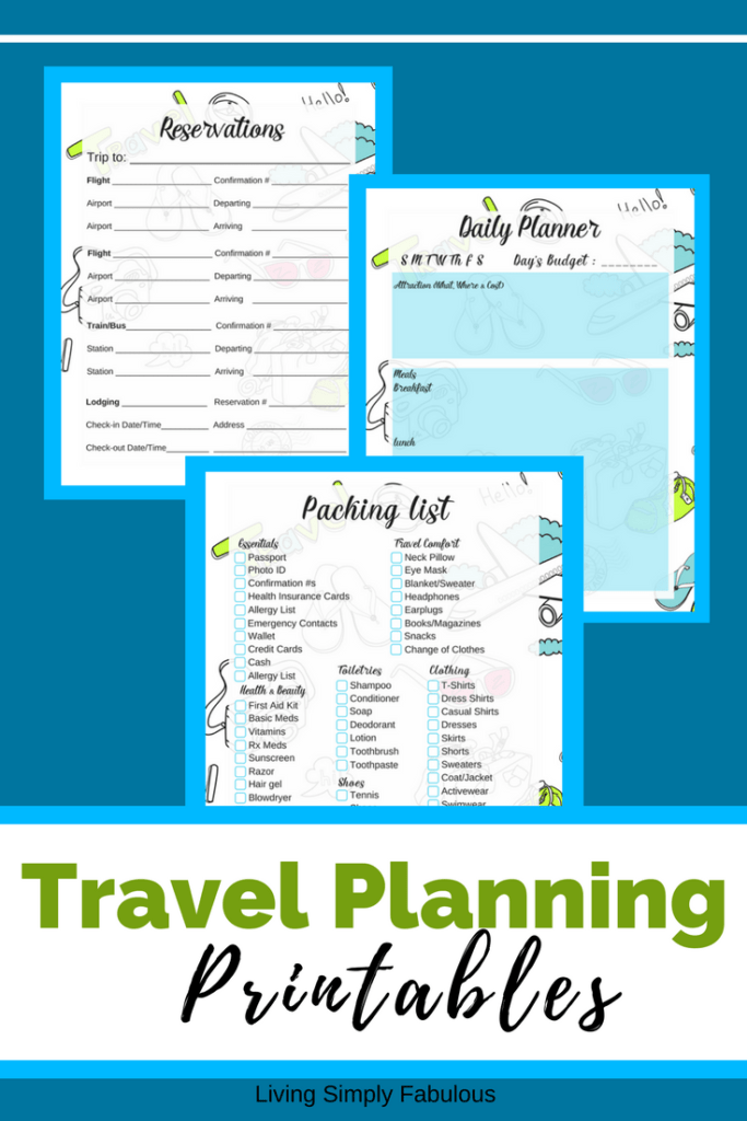 Plan your next vacation with these free travel planning printables. These printables include a packing list, daily planner, and a place to record your reservation information.