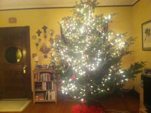 The tree, decorated ...