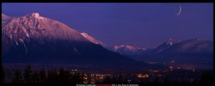 Taken by Maju Shekhar, who noticed a glow on Mt. Si at dusk last year. Photo taken near TPC Snoqualmie Ridge.