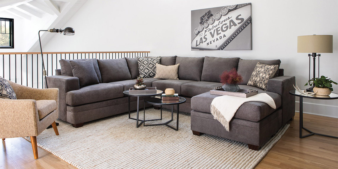 Transitional Living Room With Kerri 2 Piece Sectional W