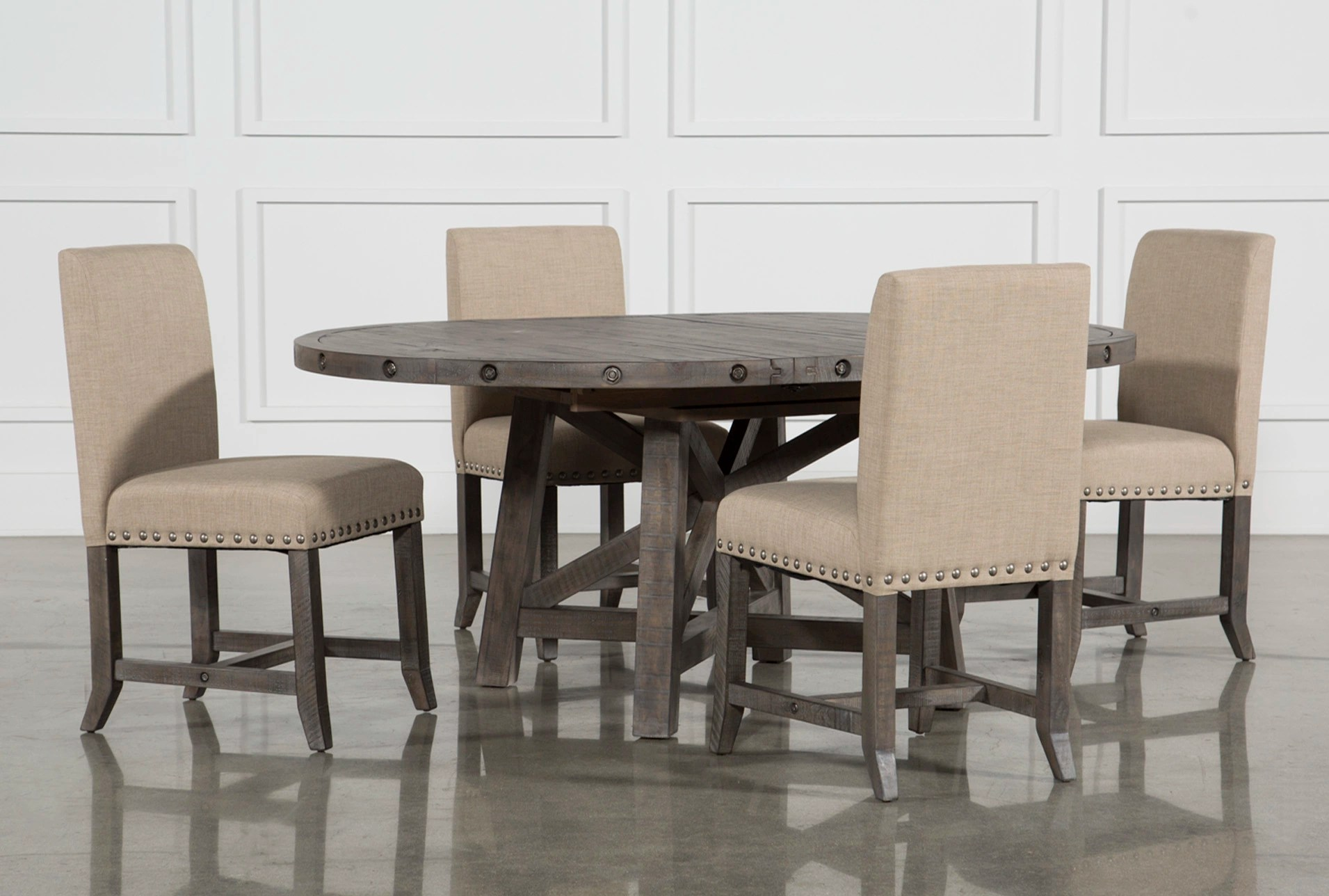 Living Spaces Dining Chairs Jaxon Grey 5 Piece Round Extension Dining Set W
