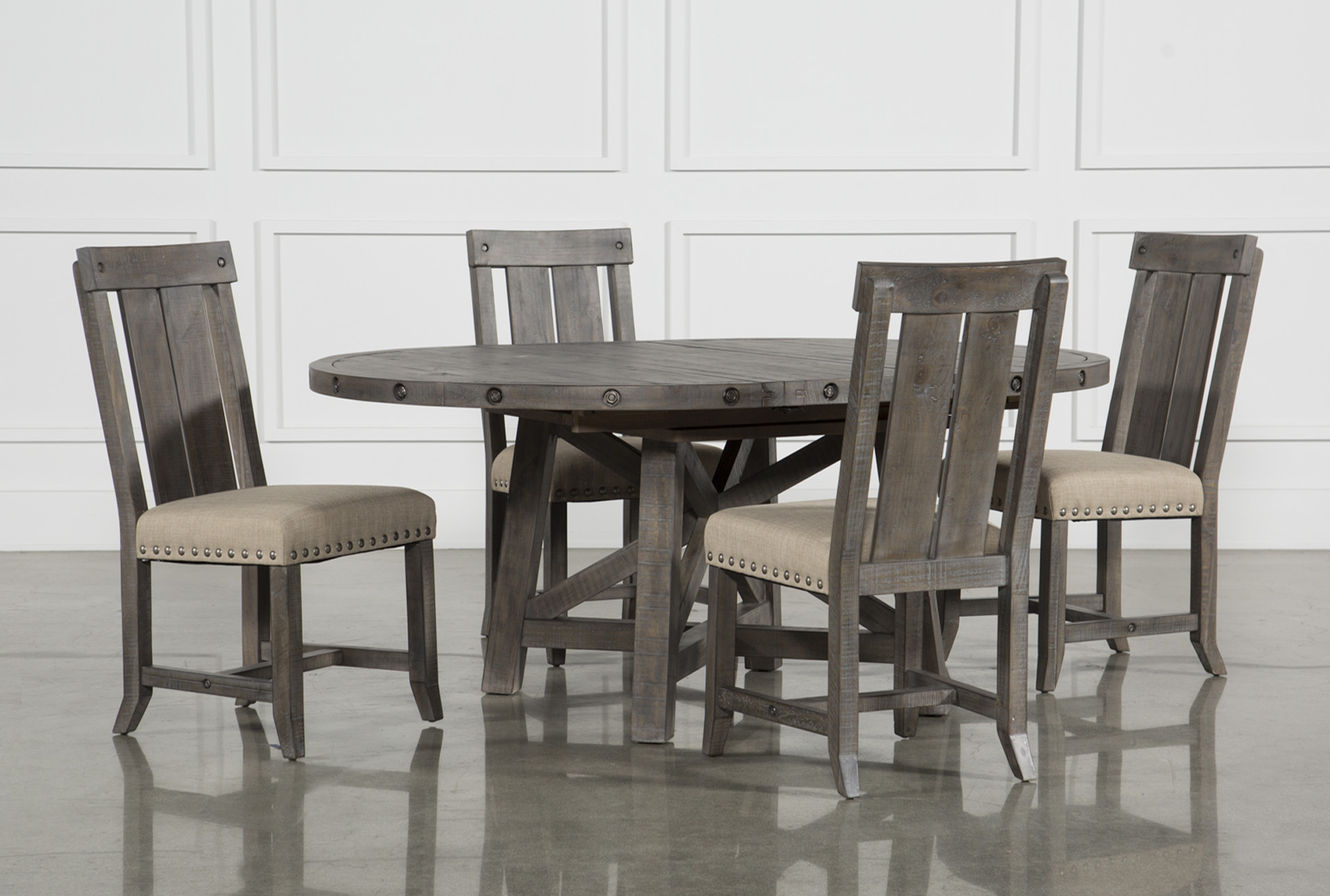 Dining Room Chairs Set Of 4 Jaxon Grey 5 Piece Round Extension Dining Set W Wood Chairs