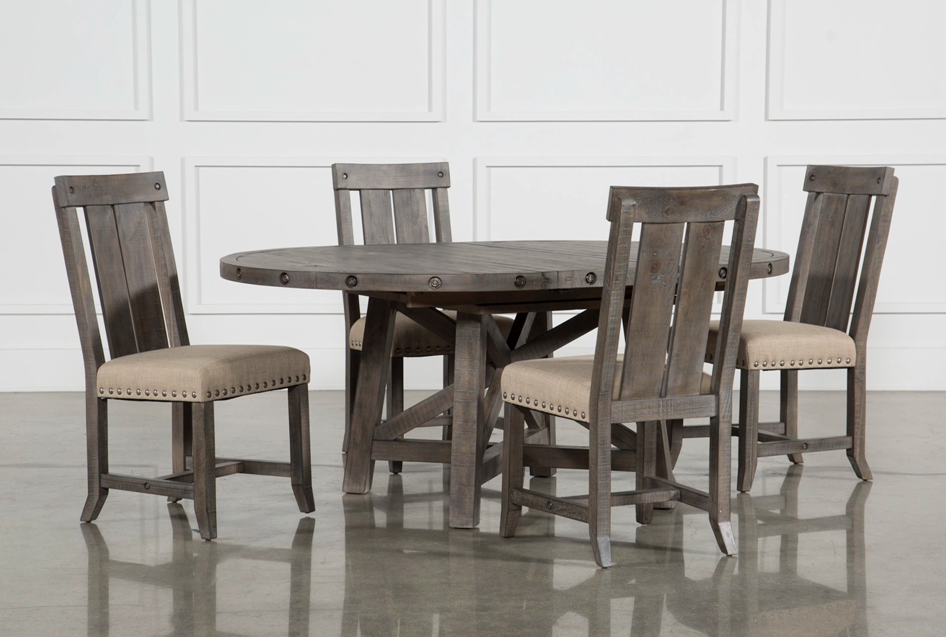 Table With Chairs Jaxon Grey 5 Piece Round Extension Dining Set W Wood Chairs
