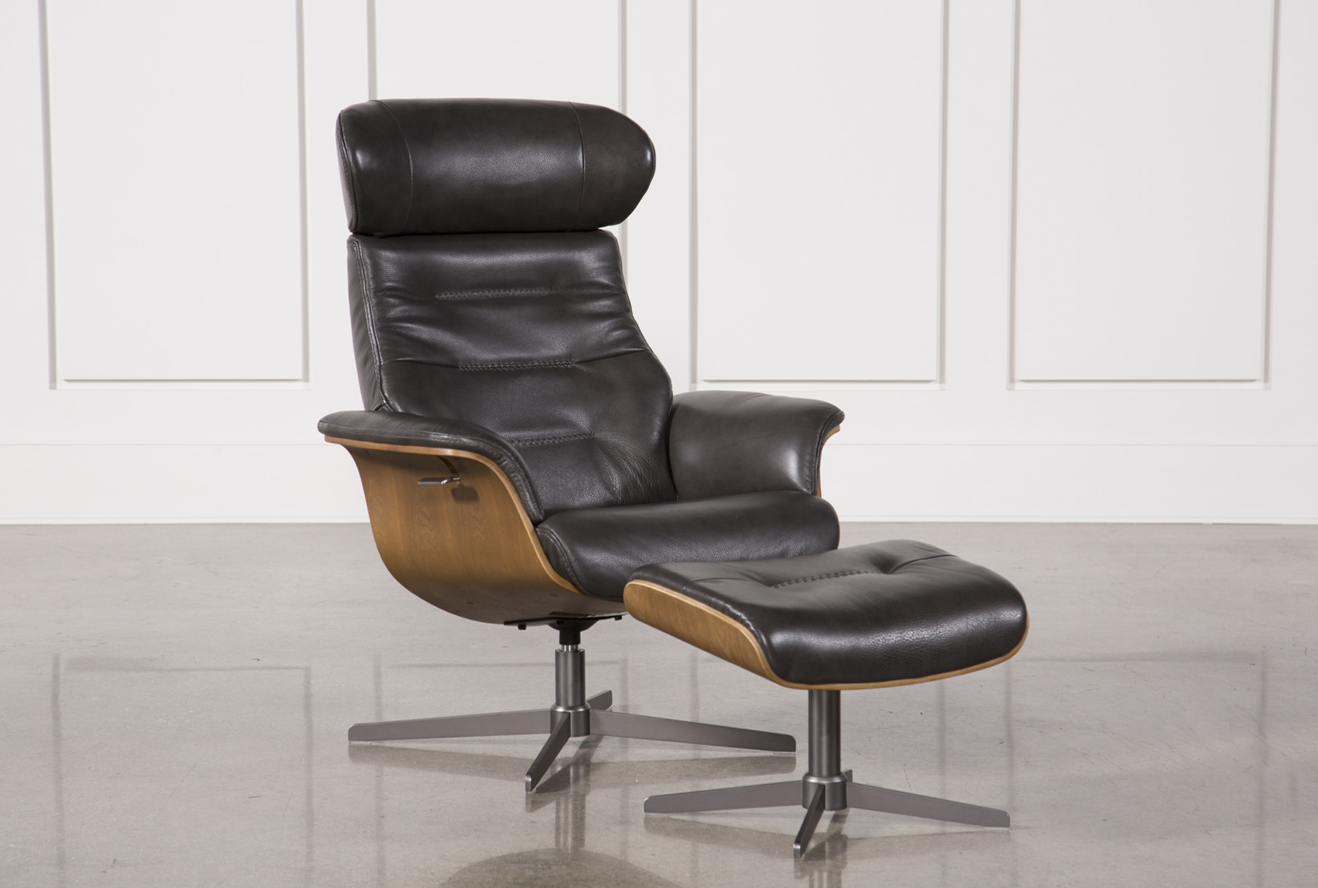Leather Chairs With Ottoman Amala Dark Grey Leather Reclining Swivel Chair Ottoman