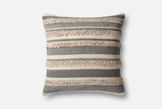 Accent Pillow-Magnolia Home Textured Stripes Grey/Ivory