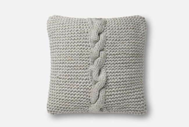 Accent Pillow-Magnolia Home Cableknit Grey 18X18 By Joanna
