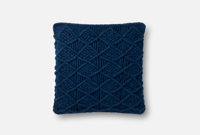Accent Pillow-Magnolia Home Macrame Navy 18X18 By Joanna