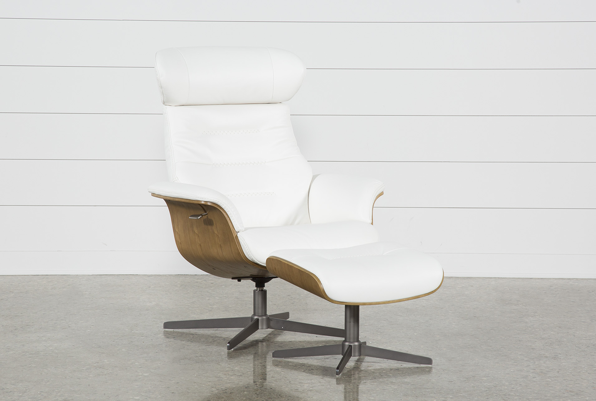 Leather Chairs With Ottoman Amala White Leather Chair Ottoman