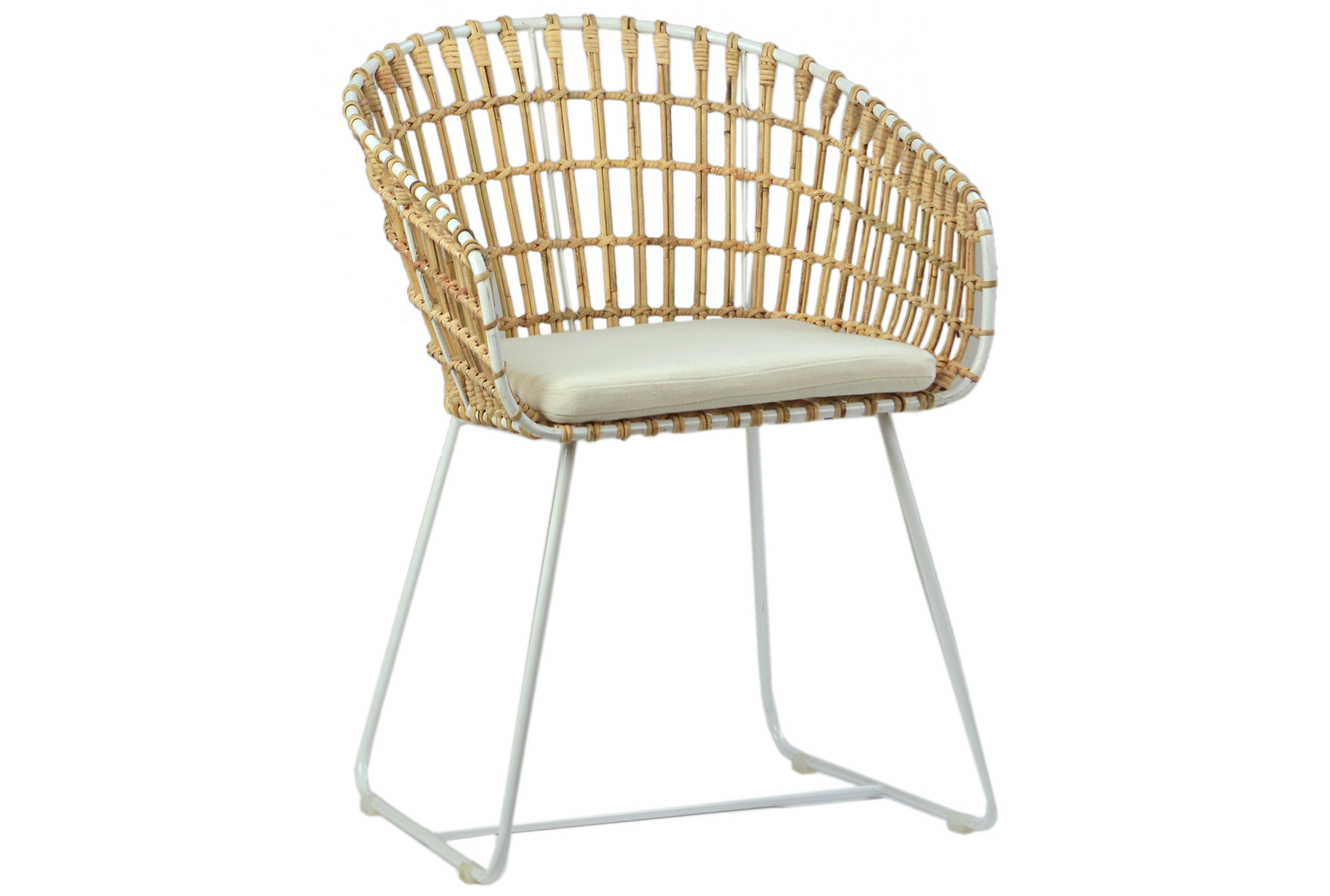 Rattan Accent Chair Iron Rattan Accent Chair With White Legs