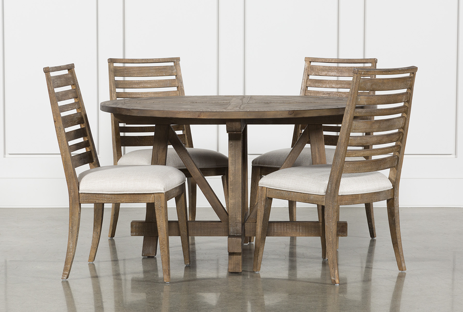 Living Spaces Dining Chairs Craftsman 5 Piece Round Dining Set With Side Chairs