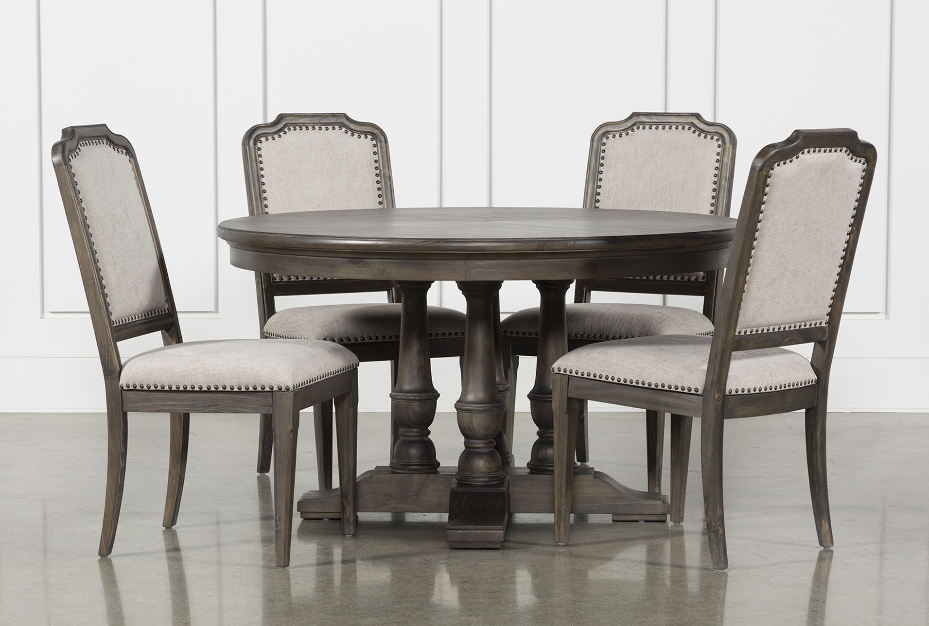 Dining Room Upholstered Chairs Laurent 5 Piece Round Dining Set With Upholstered Chairs