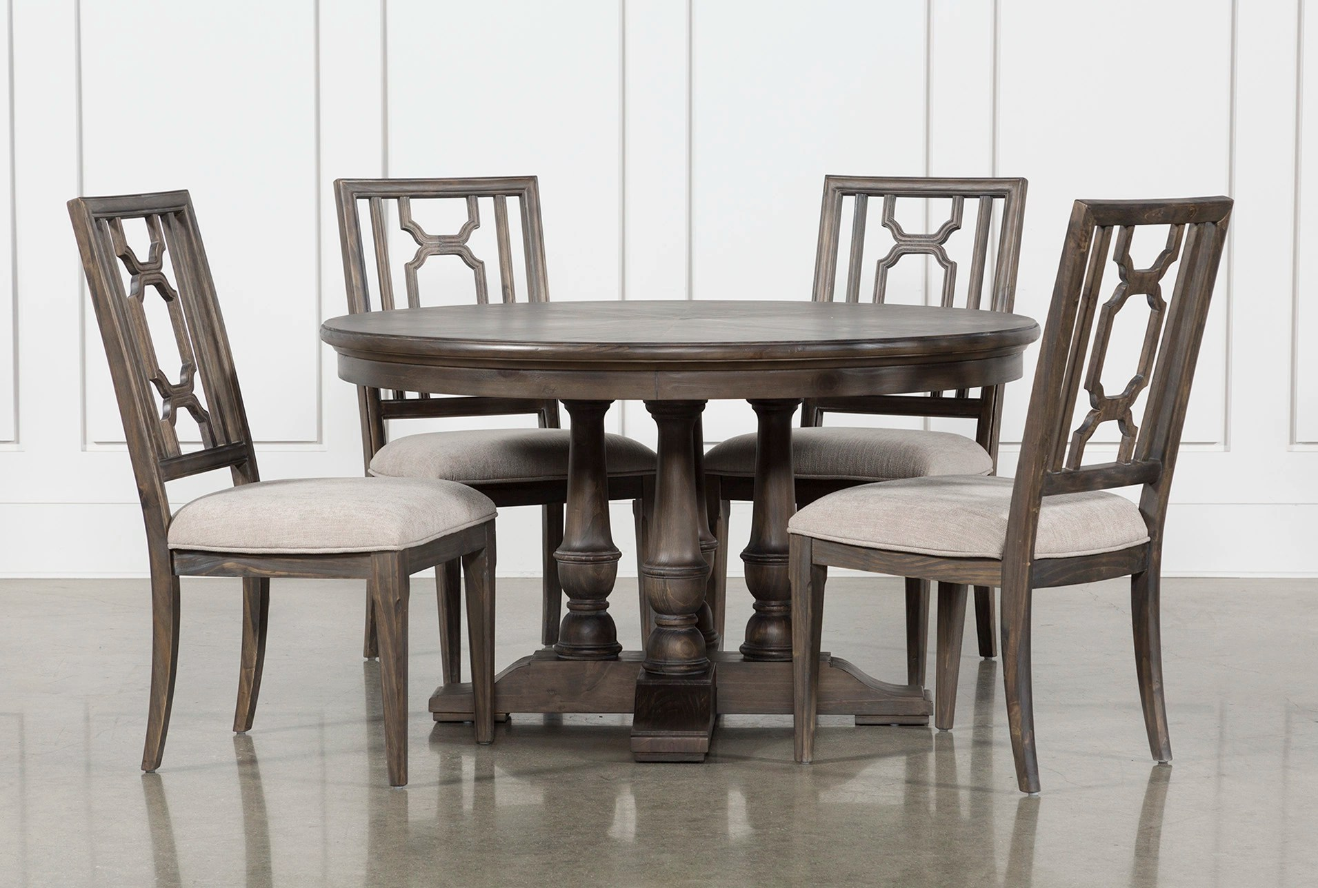 Living Spaces Dining Chairs Laurent 5 Piece Round Dining Set With Wood Chairs Living