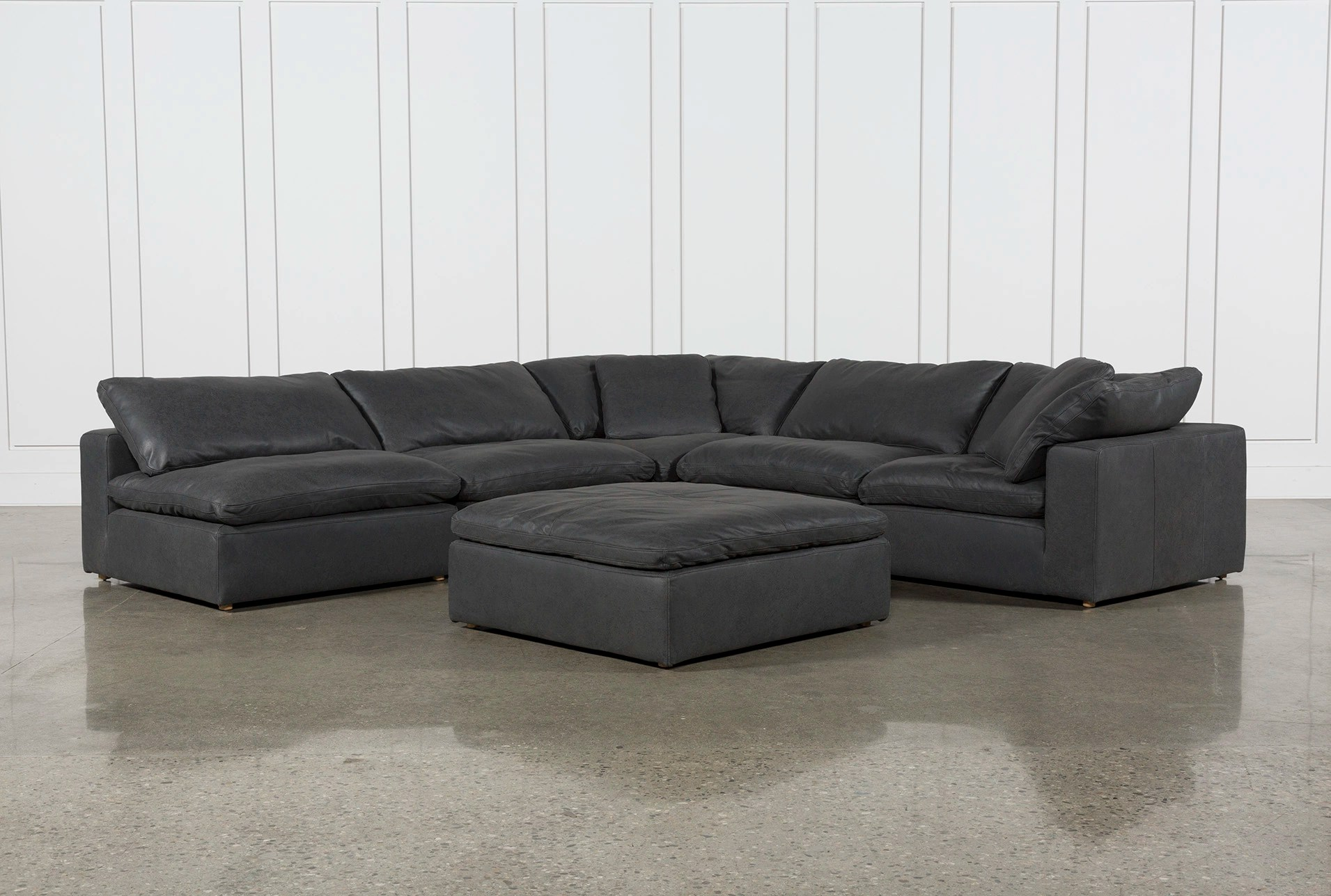 Cool Comfy Chairs Hidden Cove Grey Leather 6 Piece Sectional With 3 Armless Chairs