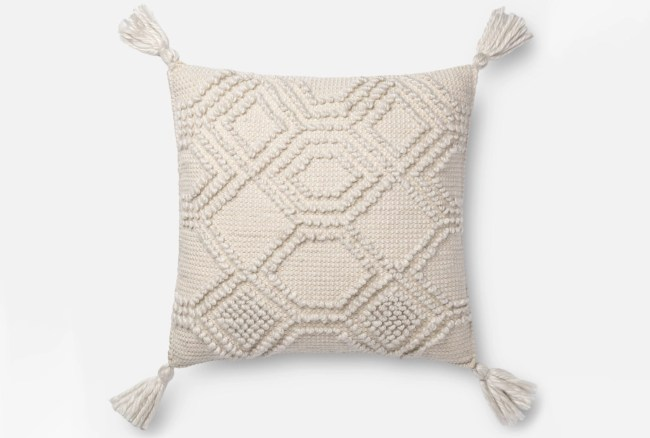 Accent Pillow-Magnolia Home Diamond Knot Ivory 22X22 By