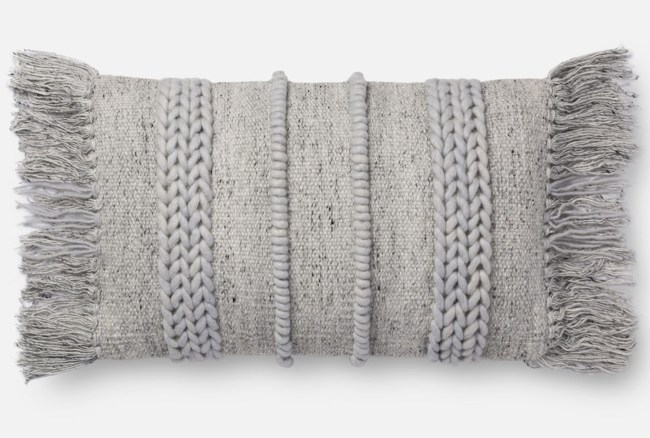 Accent Pillow-Magnolia Home Braided Fringe Grey/Grey 13X21
