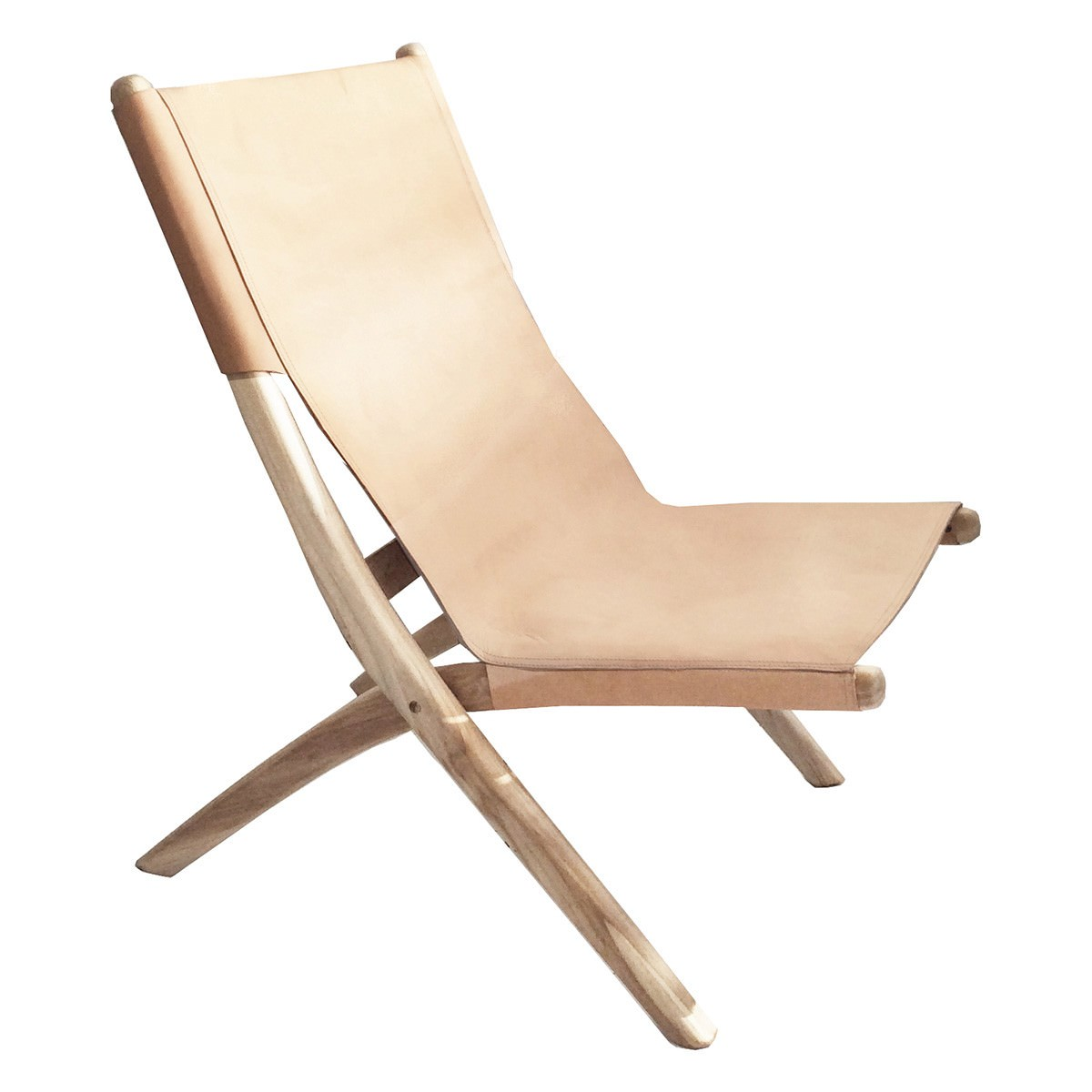 Folding Lounge Chair Favela Leather Teak Folding Lounge Chair Nude