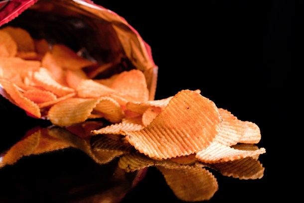 sharp potato chips poured out of the pack
