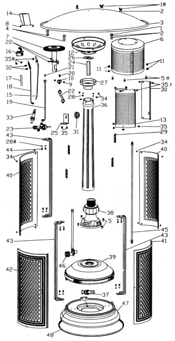common patio heater replacement parts