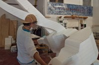 Moving styrofoam sculpture.