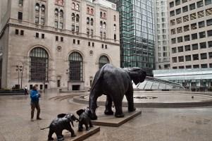 Commerce Court elephant sculptures.