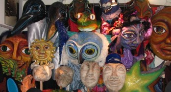 Puppet heads at Red Pepper Spectacle arts.