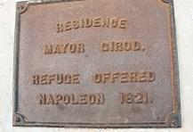 Plaque refuge offered Napoleon.