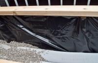 Waterproof lining of planter box.