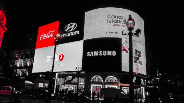 This is the famous neon sign at Piccadilly Circus in London UK